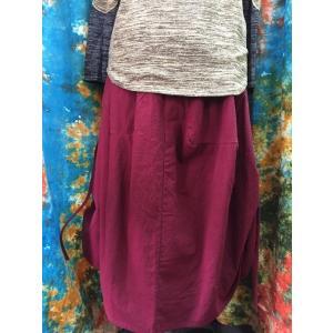 コットンロングスカート ワインレッドカラー 変化ひもあり  ナチュラル系 エスニック系 ギャザースカート コクーン型 フリーサイズ ビッグシルエット 丈85cm|zakkayakaeru