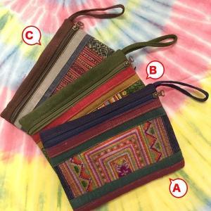 モン族古布ポーチ/3種 通帳入れにも ポーチ 内ポケットアリ 刺繍好きな方へ アジア エスニック|zakkayakaeru