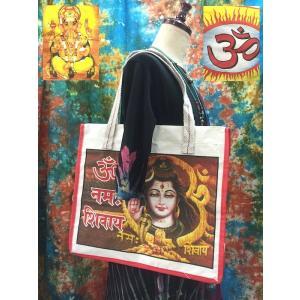 インドの神様バッグ トートバッグ シヴァ神 ガネーシャ神 オーム OM オム ファスナー付き|zakkayakaeru