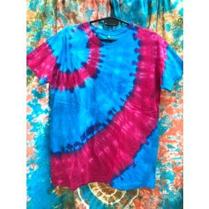 メンズTシャツ/タイダイ染め ブルー×レッド ヨガ yoga メンズL エスニックファッション アジアンTシャツ フェス|zakkayakaeru