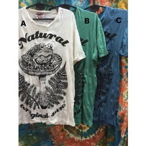 アジアンTシャツ/カエルときのこ ホワイト.エメグリ.ブルー 白.緑.青 メンズL〜XL アジア エスニック sure YOGA ヨガ バックプリント 蛙 キノコ かえる|zakkayakaeru