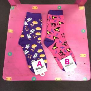 ハロウィーン ハロウィン 靴下 レディース  エスニック アジアン 22〜25cm 黒猫かわいい かぼちゃ オバケ|zakkayakaeru