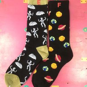パラシュート 地球木製土星 フリーサイズソックス 靴下 メンズ レディース  エスニック アジアン 23〜27cm|zakkayakaeru