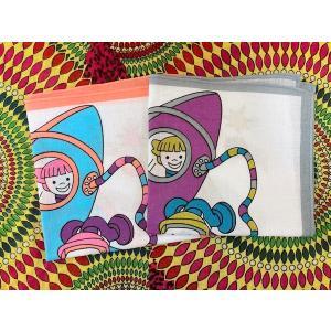 小さなハンカチ 楽しい宇宙飛行 ロケット 幼稚園児 小学生 コットン 綿 30cm ファンシー 水色 グレー 昭和感 レトロテイスト|zakkayakaeru