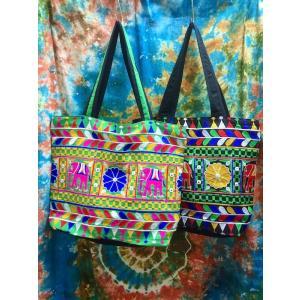 刺繍だらけのトートバッグ 象刺繍 カラフルバッグ アジア エスニック ド派手 ファスナー付き|zakkayakaeru