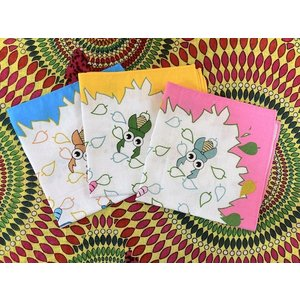 小さなハンカチ ファンシーな昆虫 幼稚園児 小学生 昆虫好き コットン 綿 26cm 水色 ピンク 黄色|zakkayakaeru