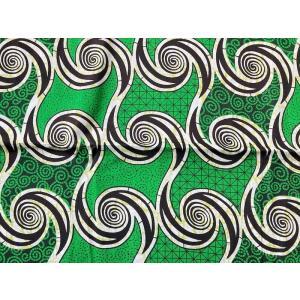 アフリカンプリント 生地 アフリカ布011 渦巻き グリーン 緑/白 幅113 長さ90 手作り ハンドメイド zakkayakaeru