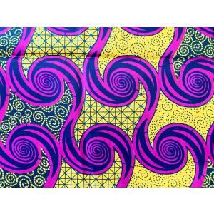 アフリカンプリント 生地 アフリカ布012 渦巻き イエロー/ピンク 幅111 長さ90 手作り ハンドメイド zakkayakaeru