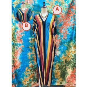 カフタンワンピース ゆったりワンピース エスニック アジアン ロングワンピース エスニックワンピース エスニックファッション 縦縞|zakkayakaeru
