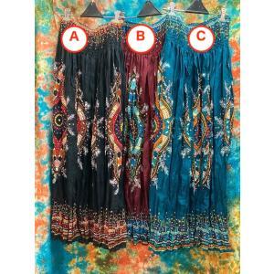 ロングスカート マキシ丈スカート 3色 エスニック アジアン 大人のロングスカート ギャザースカート サマードレスにも オリエンタル zakkayakaeru