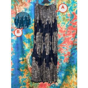 ロングスカート マキシ丈スカート 2色 濃紺 ブルーグリーン  エスニック アジアン 大人のスカート ギャザースカート サマードレスにも ボタニカル zakkayakaeru