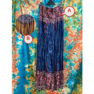ロングスカート マキシ丈スカート 2色 ブルー ブラウン  エスニック アジアン 大人のスカート ギャザースカート サマードレスにも ボタニカル zakkayakaeru