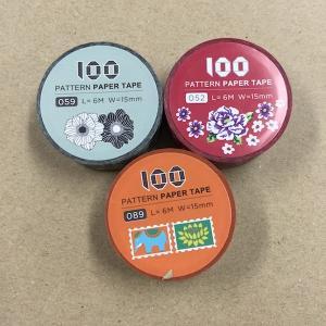 台湾マステ マスキングテープ 花柄グレー / 客家花布 / 象と蓮 アジアン|zakkayakaeru