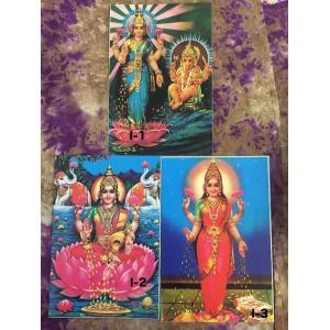 神様ポストカード ヒンドゥー教 ラクシュミー神 I-1,2,3 ガネーシャも一緒 インド デットストック物 蓮 zakkayakaeru