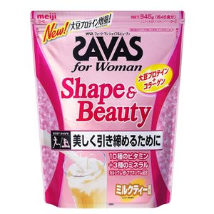 SAVAS ザバス フォーウーマン シェイプ&ビューティー ミルクティー味 45食 945gの画像