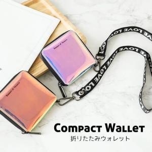 財布 レディース 二つ折り 小さめ 使いやすい おしゃれ ウォレット ストラップ付き  韓国 可愛い フェス 8T13|zakzak