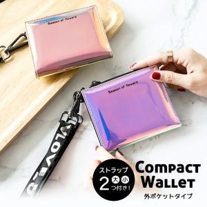 二つ折り財布 コンパクト 大容量 外ポケット 小さめ コインケース ホログラム 首掛け 女の子 ファスナー ストラップ付き ブルー ピンク おしゃれ フェス|zakzak