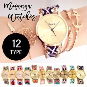 腕時計 レディース メンズ ミサンガ ウォッチ 時計 おしゃれ 安い ブレスレット ボヘミアン バングル ジュエリー ゴールド|zakzak