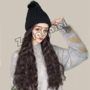 帽子ウィッグ レディース ニット帽 毛付け帽子 冬の帽子新型かつら ニットキャップ 暖かい 可愛い 秋冬用 着用心地のよい新作|zariapalei