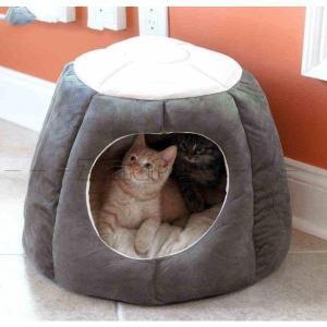 ペット ハウス ドーム型 ペット ベッド クッション 猫 犬 ふわふわ もこもこ 柔らかい 選べる3カラー かわいい|zariapalei