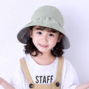 バイザー帽子 総レース サンバイザーハット 折りたためる 子供用 日よけ 紫外線対策 UVケア 折り畳み MDM(B-グリーン, シングル)|zebrand-shop