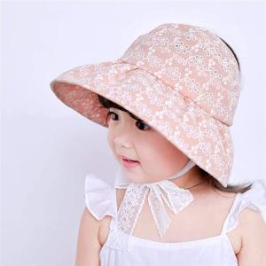 バイザー帽子 総レース サンバイザーハット 折りたためる 子供用 日よけ 紫外線対策 UVケア 折り畳み(A--オレンジ, シングル)|zebrand-shop