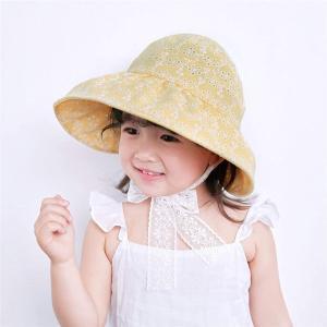 バイザー帽子 総レース サンバイザーハット 折りたためる 子供用 日よけ 紫外線対策 UVケア 折り畳み MDM(A--イエロー, シングル)|zebrand-shop