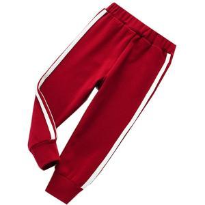 体操服 ズボン 体操ズボン 学校 小学校 制服 指定 ジャージ 縦ライン 紺 赤 小さい サイズ スクール キッズ(レッド, 100)|zebrand-shop
