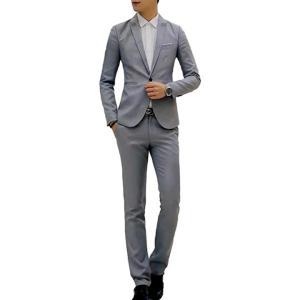 スーツセット ジャケット パンツ セットアップ フォーマル ビジネス メンズ スリム 細身 2点セット(グレー, L)|zebrand-shop