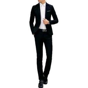 スーツセット ジャケット パンツ セットアップ フォーマル ビジネス メンズ スリム 細身 2点セット(ブラック, XL)|zebrand-shop
