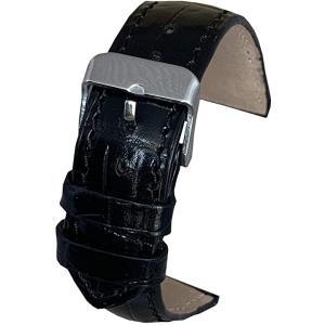 腕 時計 ベルト クロコダイル 型押し バンド 牛革 本革 レザー ばね棒 外し 付(ブラック, 22mm)|zebrand-shop