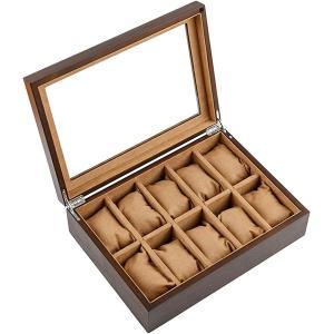 高級 木製 腕時計 収納 ボックス 10本用 コレクション ケース ディスプレイ 透明ガラス 箱 クッション付き J83 ブラウン|zebrand-shop