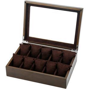 高級 木製 腕時計 収納 ボックス 10本用 コレクション ケース ディスプレイ 透明ガラス 箱 クッション付き J84 ダークブラウン MDM|zebrand-shop