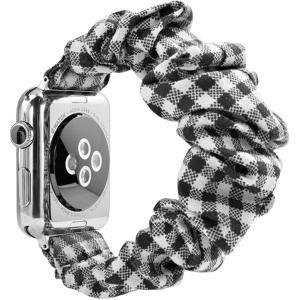 Apple Watch対応アクセサリー Watchバンド 柔らかく伸縮性のあるストラップ(ブラック チェック柄, 42mm/44mm)|zebrand-shop
