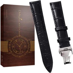 時計 ベルト バンド 21mm 本革腕時計バンド 交換ベルト Dバックル 防水 防汗 工具付き(ブラック/シルバーバックル, 20mm)|zebrand-shop