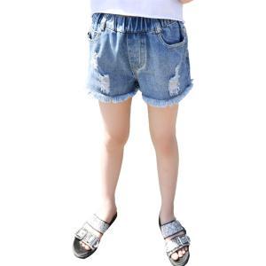 フリフラ デニム ショートパンツ 裾フリンジ & ダメージ加工 女の子 レディース 青 120cm MDM(ブルー, 120cm)|zebrand-shop