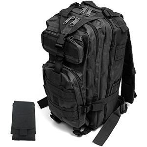 超軽量で持ち運びも容易 MOLLE 対応 外部スマホポーチ付き 迷彩 アサルト タクティクス リュック 黒(ブラック) zebrand-shop