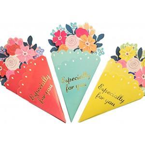 かわいい 花束型 お祝い メッセージカード 3色組 誕生日 birthday 母の日(3色組(ピンク・ブルー・イエロー))|zebrand-shop
