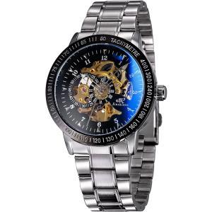 メンズ 自動巻き 機械式 腕時計 サファイアガラス ブルーレイ スケルトン シルバー ステンレス[MW004-NEW-UKTW](ブラック)|zebrand-shop