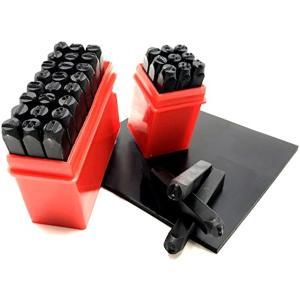 刻印セット ポンチ 数字 + ア ルファベット 打刻印 金属 革 & ゴムマット 5mm 36本(5mm 36本)
