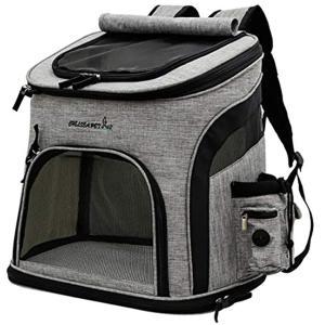 ペット キャリーバッグ リュック 犬 猫 キャリーリュック 小型犬 いぬ ねこ(グレー&ブラック, Lサイズ)|zebrand-shop