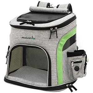 ペット キャリーバッグ リュック 犬 猫 キャリーリュック 小型犬 いぬ ねこ(グレー&グリーン, Lサイズ)|zebrand-shop