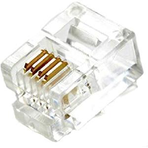 モジュラー コネクタ100個セット RJ11 6極4芯 6P4C 金メッキ
