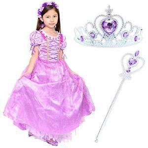 ラプンツェル 風 ドレス 子供 プリンセス かわいい ちくちくしない コスチューム ハロウィン ティアラ ステッキ(110) zebrand-shop