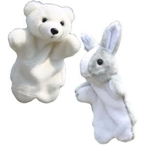 アニマル パペット ぬいぐるみ 人形 動物 オオカミ うさぎ など 白クマ グレーうさぎ(白クマ グ...
