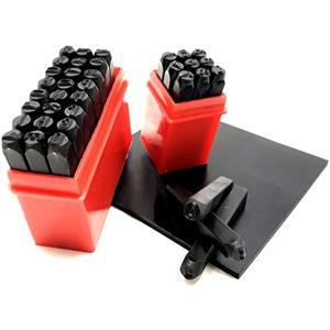 刻印セット ポンチ 数字 + ア ルファベット 打刻印 金属 革 & ゴムマット 3mm 36本(3mm 36本)