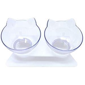 [ネッカー] 猫 フードボウル 食器台 餌入れ スタンド 皿 ダブル 傾斜(透明)|zebrand-shop