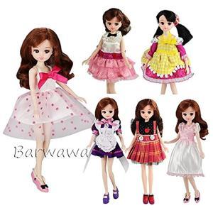 「Barwawa」リカちゃんドール用ドレス 6枚セット=3枚服+3ペア靴 ブライス用ドレス 手作り カジュアル風 人形用ドレス|zebrand-shop