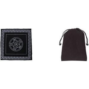 タロット 占い 用 布 マット 49×49cm 綿ネル生地 収納袋付き(ブラック) zebrand-shop