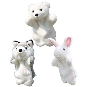 アニマル パペット ぬいぐるみ 人形 動物 オオカミ うさぎ など 狼 白熊 白兔(狼 白熊 白兔)